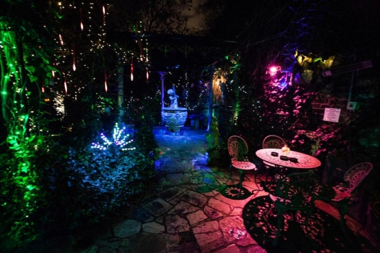 The Gazebo (smoking area) at night