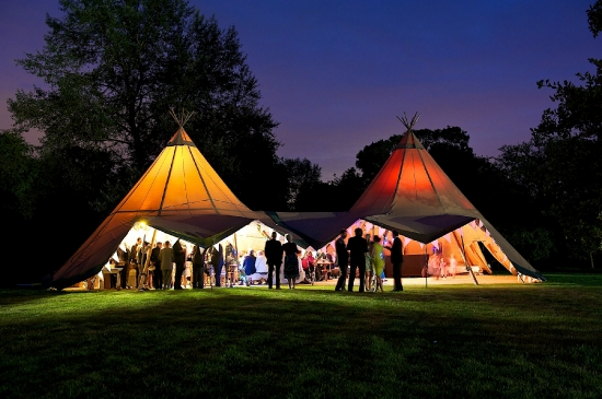 Tipi in the grounds by night