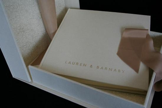 Linen wedding album with matching clamshell box