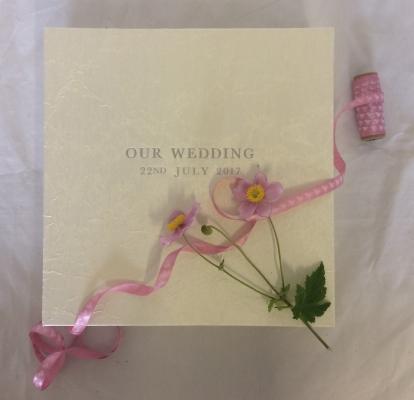 Satin wedding album win a matching clamshell box