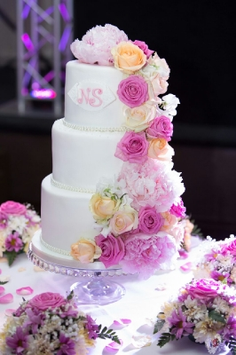 3 tier pink floral wedding cake