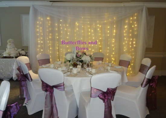 fairylight backdrops, table centres, chair covers
